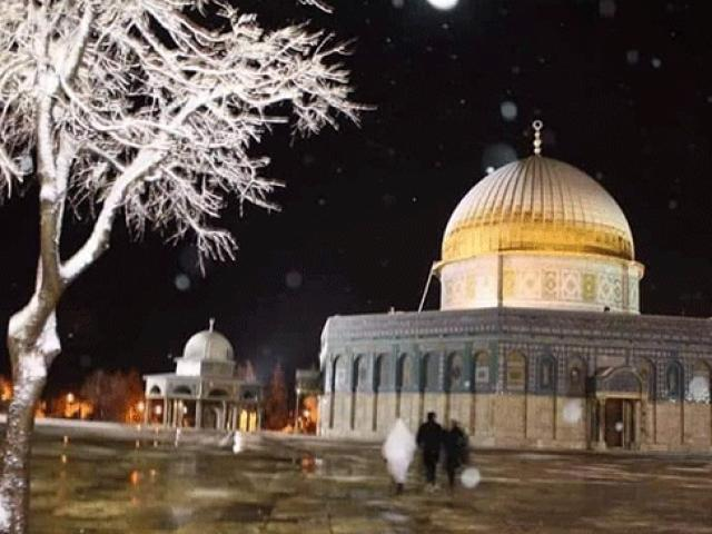 Kudüs'te kar yağışı etkili oldu, Mescid-i Aksa beyaza büründü