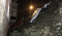 Karabük'te bir sitenin istinat duvarı çöktü