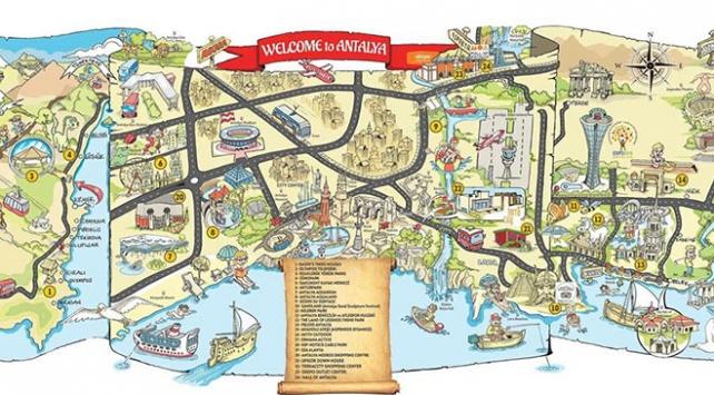 """Antalyada turistler için """"eğlenceli harita"""""""