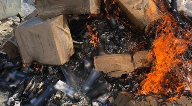 Başkalede 63 bin paket kaçak sigara imha edildi