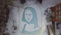 """Kanada'da kardan """"Mona Lisa"""" yapıldı"""