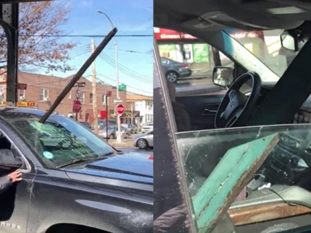 New York'ta metro rayından düşen kiriş araba camına saplandı