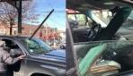New Yorkta metro rayından düşen kiriş araba camına saplandı