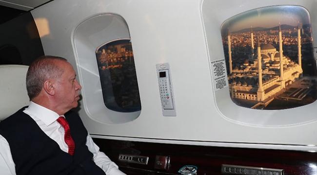 Cumhurbaşkanı Erdoğan, Çamlıca Camiini havadan inceledi