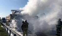 Otoyolda hafriyat kamyonu yangını