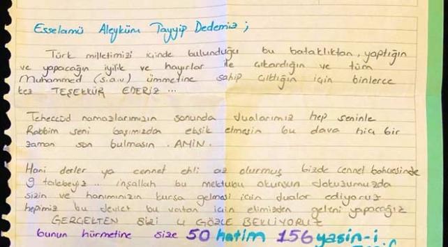 Kuran kursu öğrencilerinden Cumhurbaşkanı Erdoğana davet