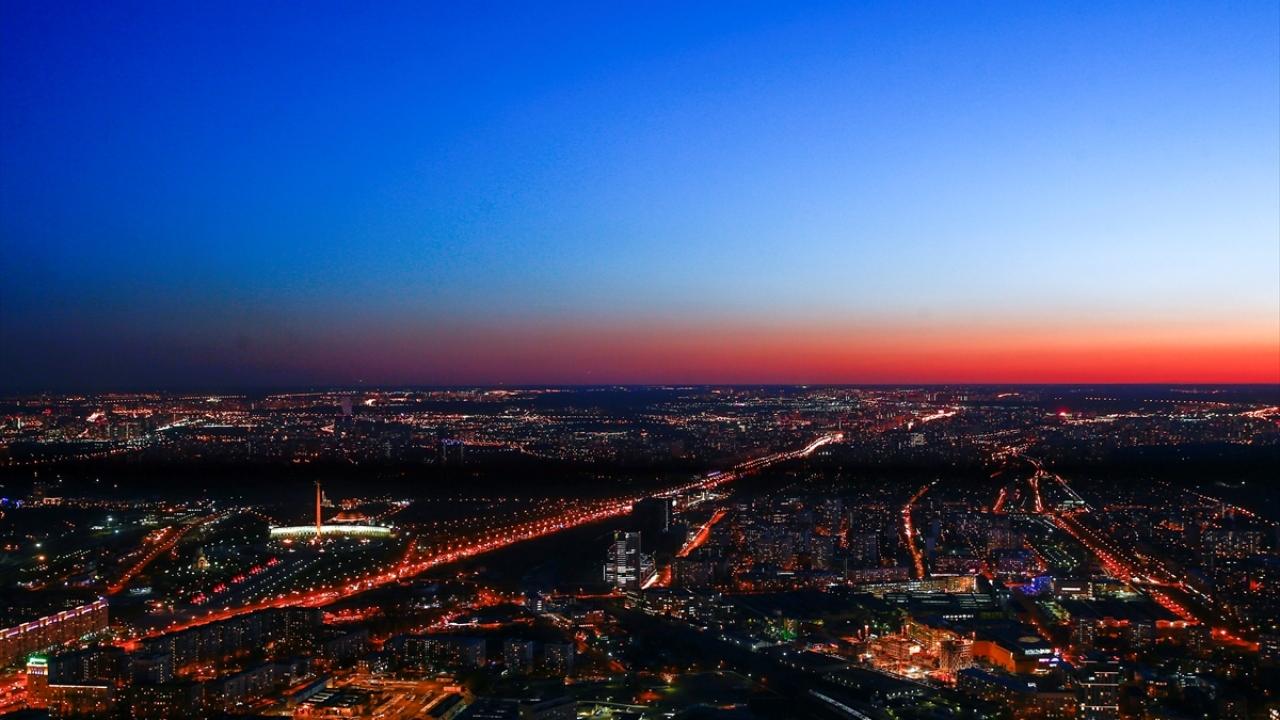 Moskovada şehir ışıkları
