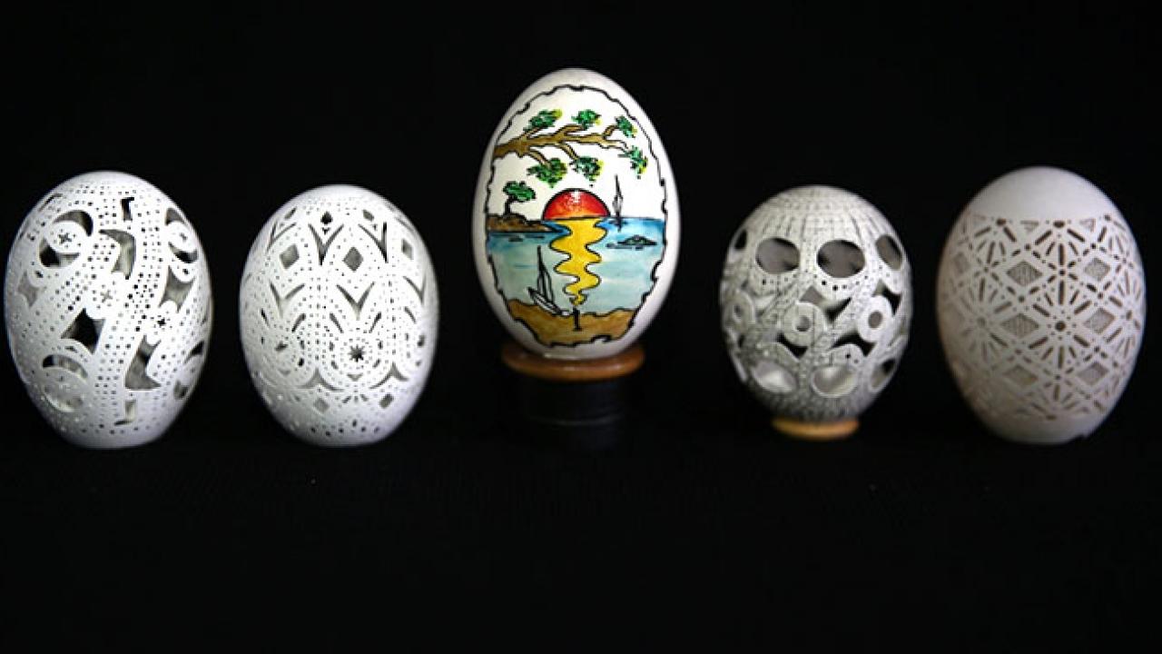 Sanat eserine dönüşen yumurta kabukları