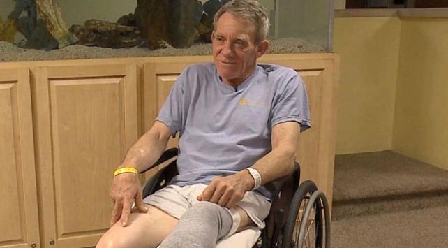 Tahıl haznesine düşen çiftçi sıkışan bacağını çakısıyla keserek kurtuldu