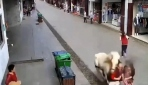 Çinde kaldırımda yürüyen yayalara at çarptı