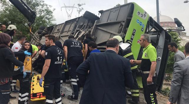 Kocaelide belediye otobüsü devrildi: 6 yaralı