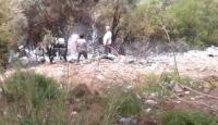 Muğla'da uçuruma devrilen otomobil alev aldı