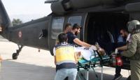 Askeri helikopter yaralı vatandaş için havalandı