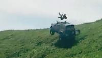 Arazi aracı takla atınca sürücü camdan fırladı