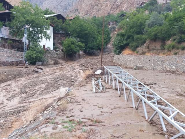Artvin'de yağış sonrası oluşan selin geliş anı görüntülendi