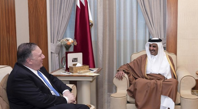 Pompeo, Katar Emiri Şeyh Temim ile görüştü