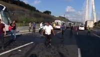 Yavuz Sultan Selim köprüsü girişinde otobüs kazası: 5 yaralı
