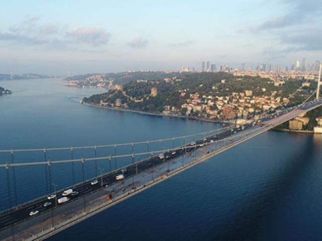 FSM Köprüsü'ndeki çalışmalar havadan görüntülendi