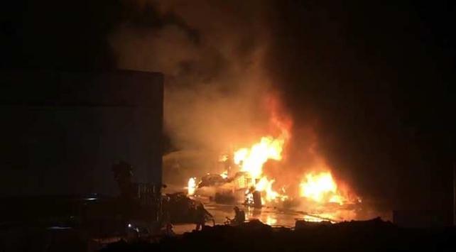 Denizlide katı atık bertaraf tesisindeki yangın