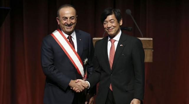 """Bakan Çavuşoğluna """"Japonyanın en yüksek nişanı"""" takdim edildi"""