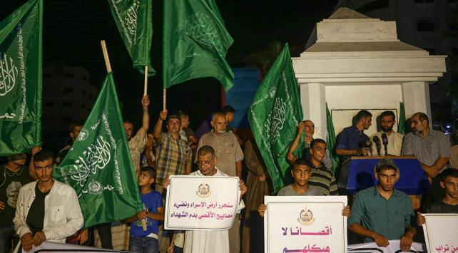 Gazzede İsrailin Mescid-i Aksa baskını protesto edildi