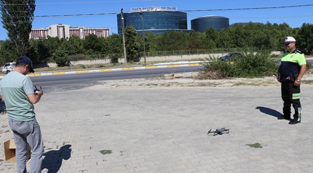 Kırmızı ışık ihlalleri drone ile tespit edildi
