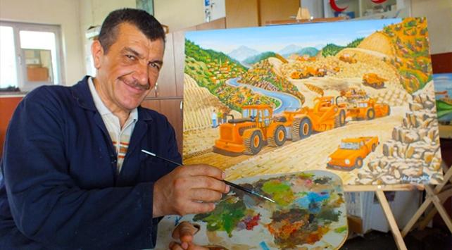 İşçi ressam, yol çalışmalarını tuvale aktardı