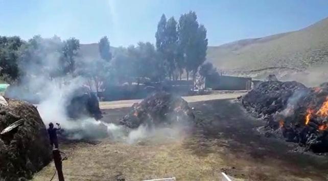 Ağrıda çıkan yangında 110 ton ot küle döndü