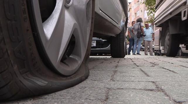 İstanbulda 10 aracın lastiğini patlatıp kaçtılar