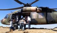 Siirt'te kayalıklardan düşen çoban, helikopterle kurtarıldı