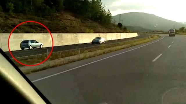 Ters yöne giren sürücü trafiği tehlikeye attı