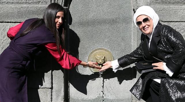 Emine Erdoğan, Sırbistanda restore edilen çeşmenin açılışını yaptı