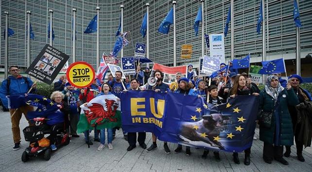 Brükselde Brexit karşıtı gösteri