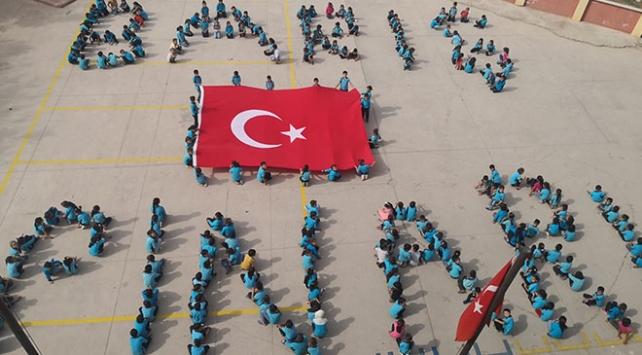 Gaziantepte ilkokul öğrencilerinden Barış Pınarı koreografisi