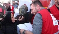 Türk Kızılayı insani yardım için Tel Abyad'da