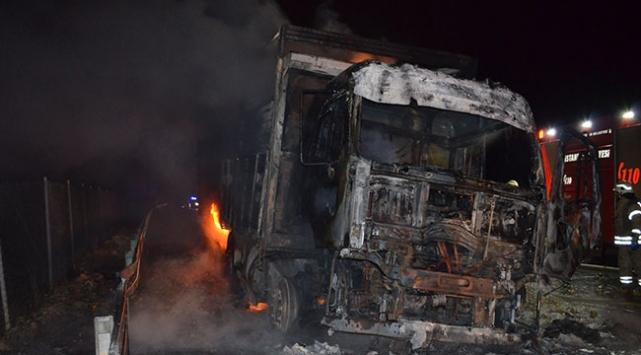 İstanbulda seyir halindeki kamyonda yangın