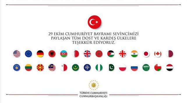 Cumhuriyet Bayramını kutlayan ülkelere teşekkür mesajı