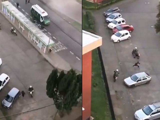 Şilide 5 motosikletli polis 1 göstericiyi kovaladı