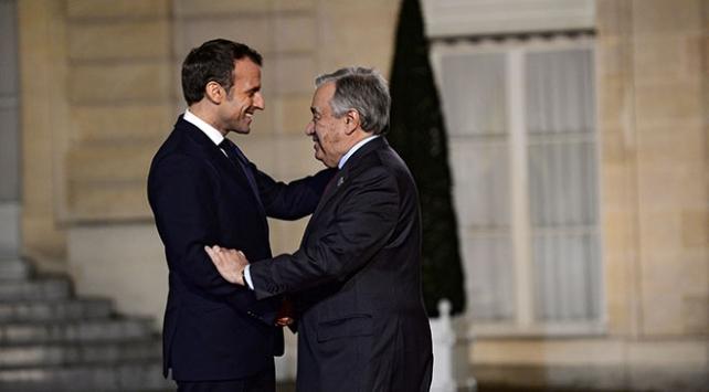 Fransa Cumhurbaşkanı Macron BM Genel Sekreteri Guterres ile görüştü