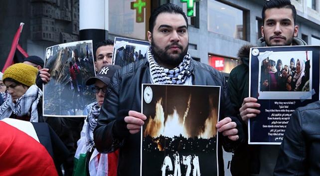 Brükselde İsrailin saldırıları protesto edildi