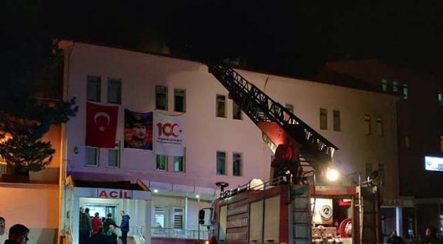 Samsunda hastane çatısında çıkan yangın söndürüldü