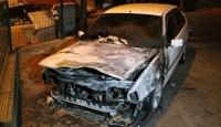 Karabük'te park halindeki otomobil yandı