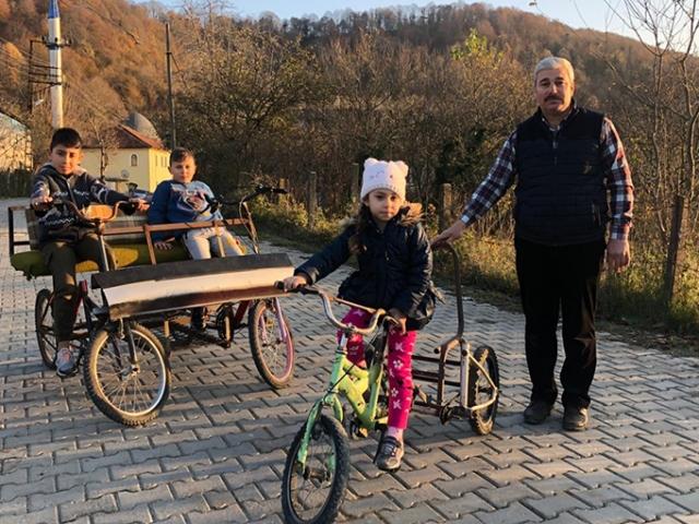 Atık malzemelerden bisiklet yapan imam çocukları sevindiriyor
