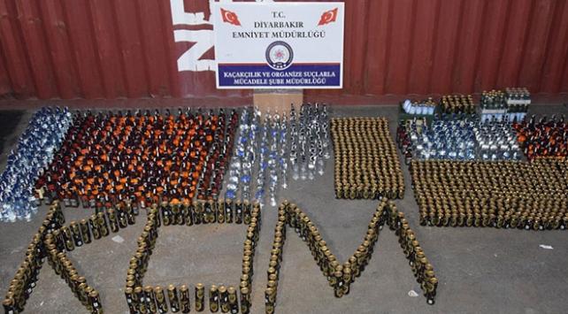 Diyarbakırda 2 bin 169 şişe kaçak içki ele geçirildi
