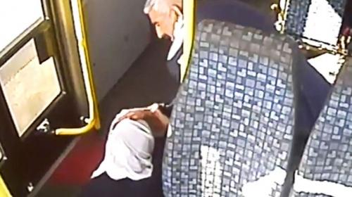Ani fren yapan otobüsteki yolcu koltuktan fırladı