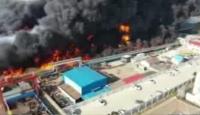 Çin'de fabrikada çıkan yangın böyle görüntülendi