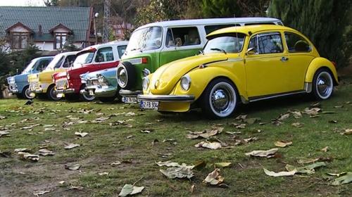Renkli klasik araçların koleksiyoneri