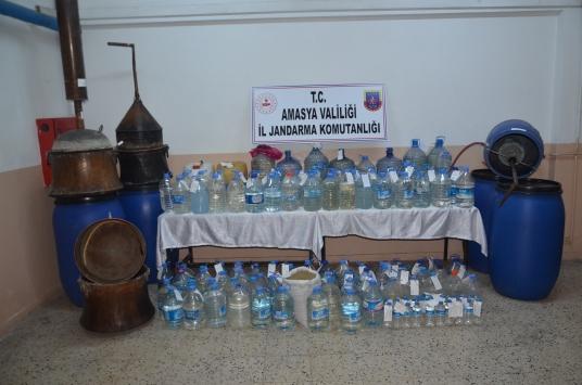 Amasyada 2 bin 338 litre sahte içki ele geçirildi