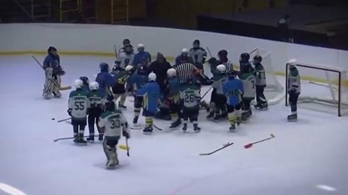 Buz hokeyi maçında antrenör çocukları dövdü