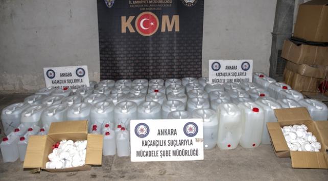 Ankarada 2 tona yakın etil alkol ele geçirildi